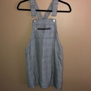 Woman's Gingham Overalls Dress
